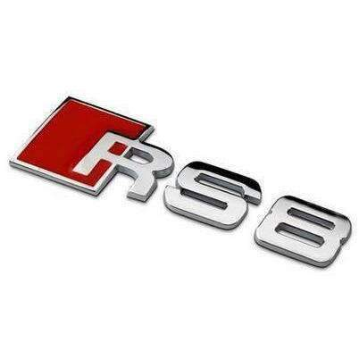 RS8 Rear Emblem for Audi [Silver, Metal, Sticker]