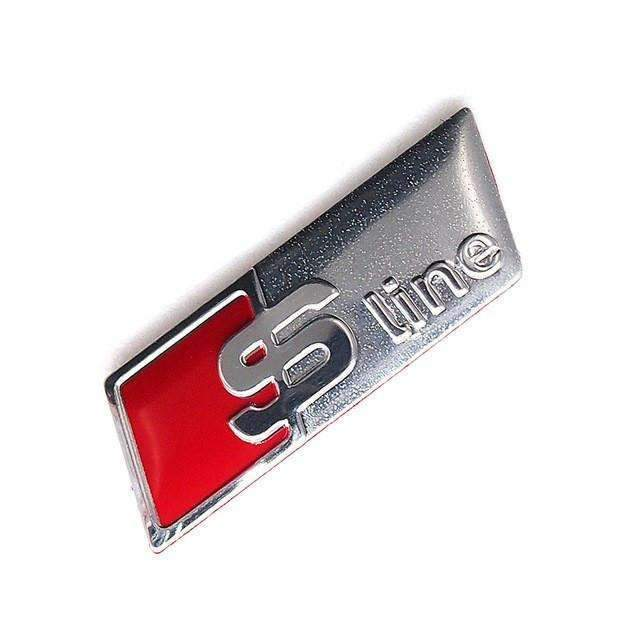 S-Line Steering Wheel Emblem For Audi [Frosted Silver, Metal, Sticker]