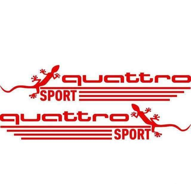 AUDI 2 Pcs Quattro Sport Mirror Vinyl Stickers for Audi Decals Red