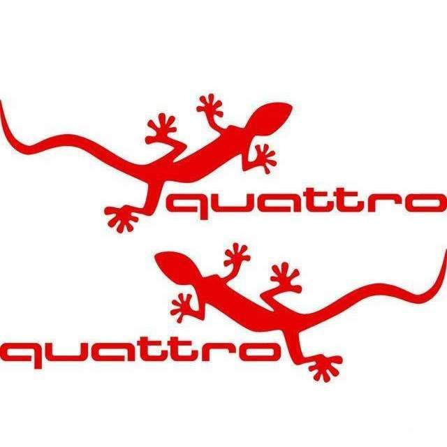 AUDI 2 pcs Vinyl Quattro Mirror Stickers For Audi Decals Red