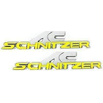 BMW Set AC Schnitzer Badge for BMW 2Pcs [Yellow, ABS, Sticker] Emblems Stickers
