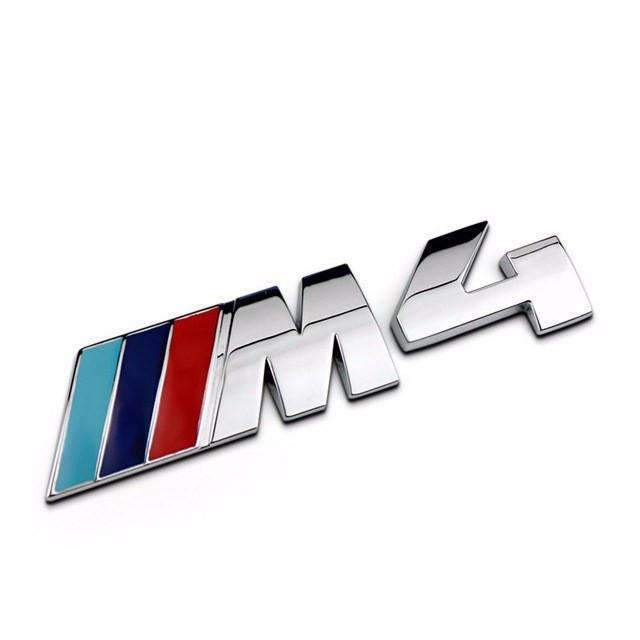 BMW Small M4 Emblem for BMW 4 Series [Silver-Color, Metal, Sticker] Emblems Stickers