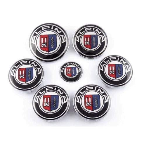 7pcs Alpina BMW Emblems Set: Steering+Hubcaps+Trunk+Hood