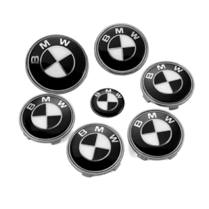BMW 7pcs Black&White BMW Logo Emblems Set: Steering+Hubcaps+Trunk+Hood Sets