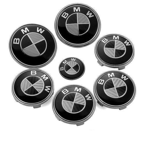 BMW 7pcs Black&White Carbon BMW Logo Emblems Set: Steering+Hubcaps+Trunk+Hood Sets
