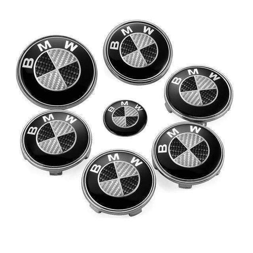 BMW 7pcs Black&White High Carbon BMW Logo Emblems Set: Steering+Hubcaps+Trunk+Hood Sets