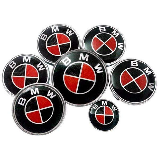BMW 7pcs Set Black&Red Carbon BMW Logo Emblems: Steering+Hubcaps+Trunk+Hood Sets
