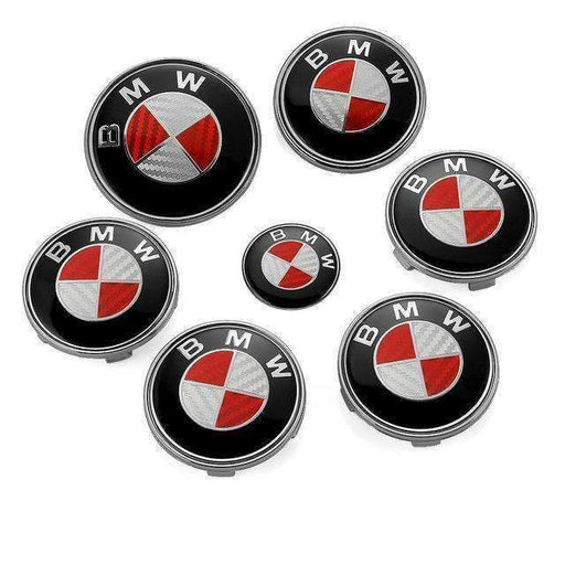 BMW 7pcs Set White&Red Carbon BMW Logo Emblems: Steering+Hubcaps+Trunk+Hood Sets