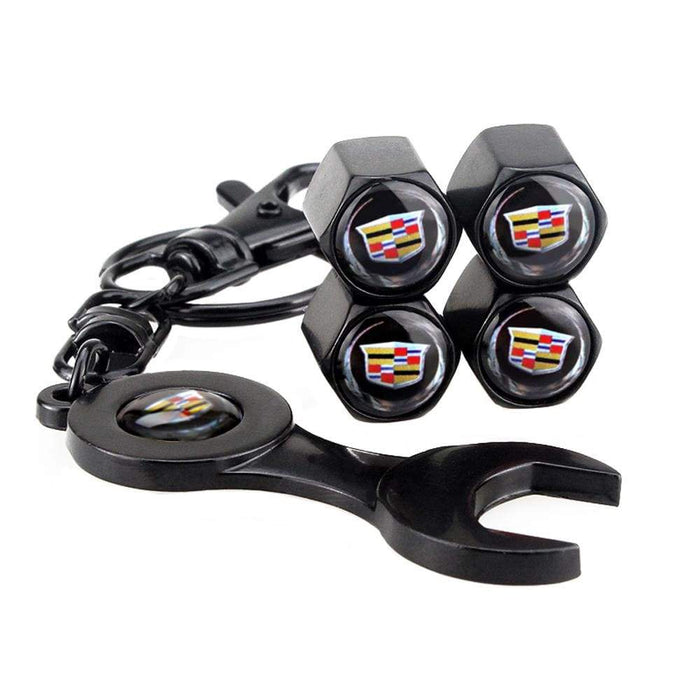 4pcs Cadillac Logo 2 Black Wheel Tire Valve Caps+Keychain