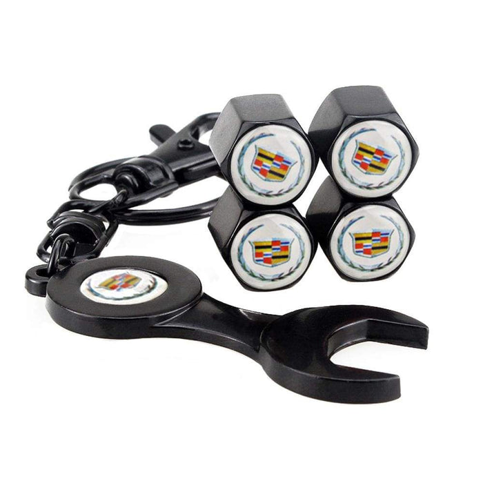 4pcs Cadillac Logo Black Wheel Tire Valve Caps+Keychain