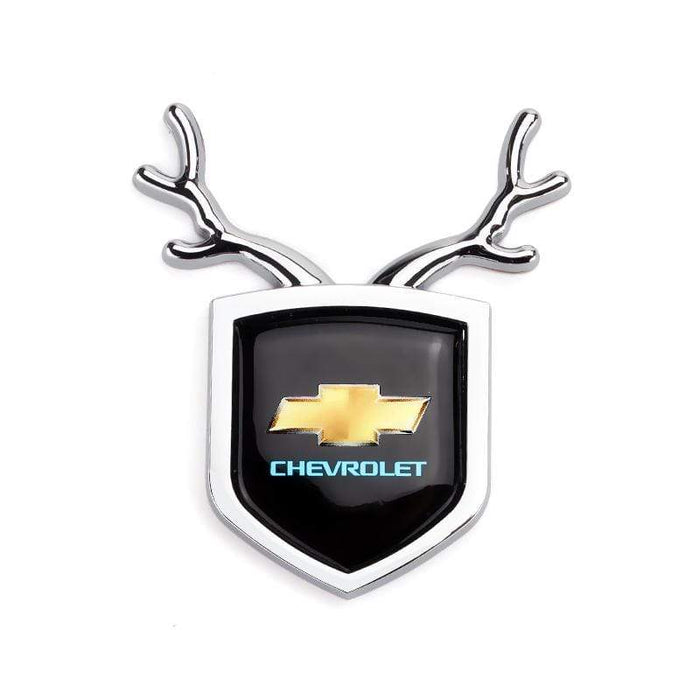 2pcs Chevrolet Logo Shield Antler Emblems Silver