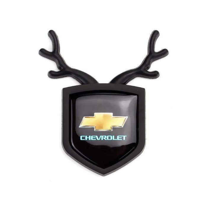 2pcs Chevrolet Logo Shield Antler Emblems Black