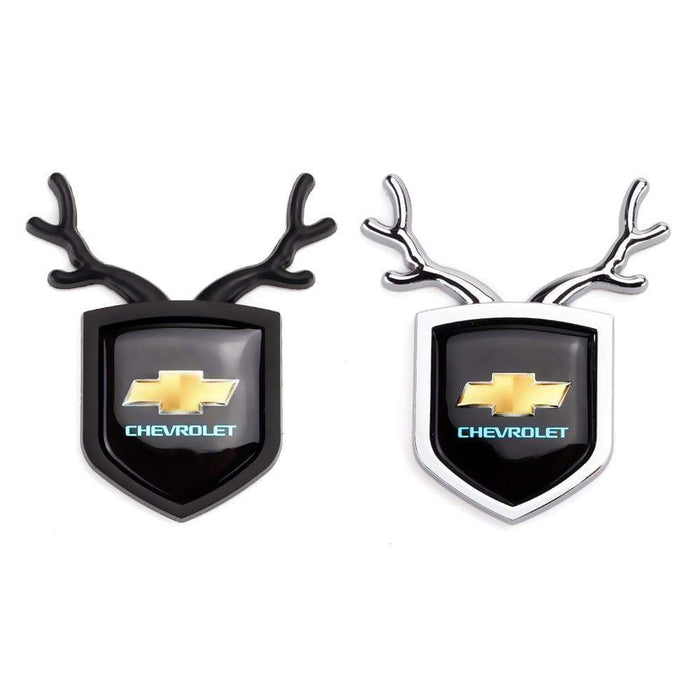 2pcs Chevrolet Logo Shield Antler Emblems