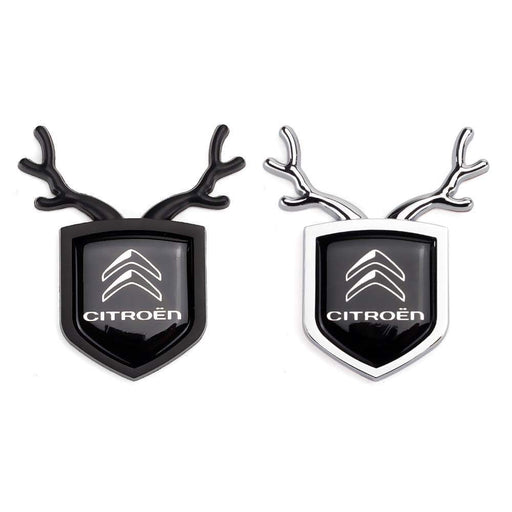 2pcs Citroen Logo Shield Antler Emblems