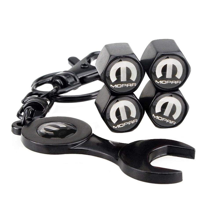 4pcs Mopar Chrysler Black Wheel Tire Valve Caps+Keychain