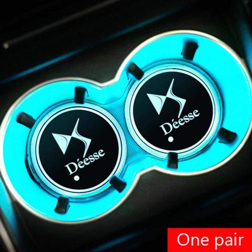 2pcs Citroen Deesse Logo Led Cup Holder Mat Pad