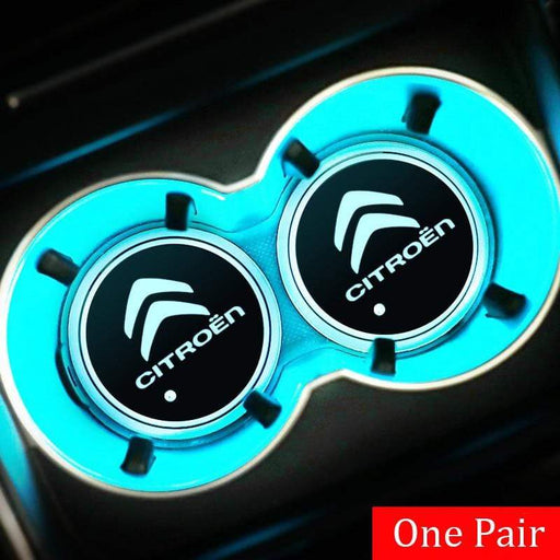 2pcs Citroen Logo Led Cup Holder Mat Pad Logo+Citroen