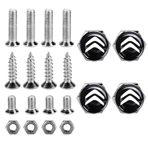 4pcs License Plate Screws for Citroen Frame Silver