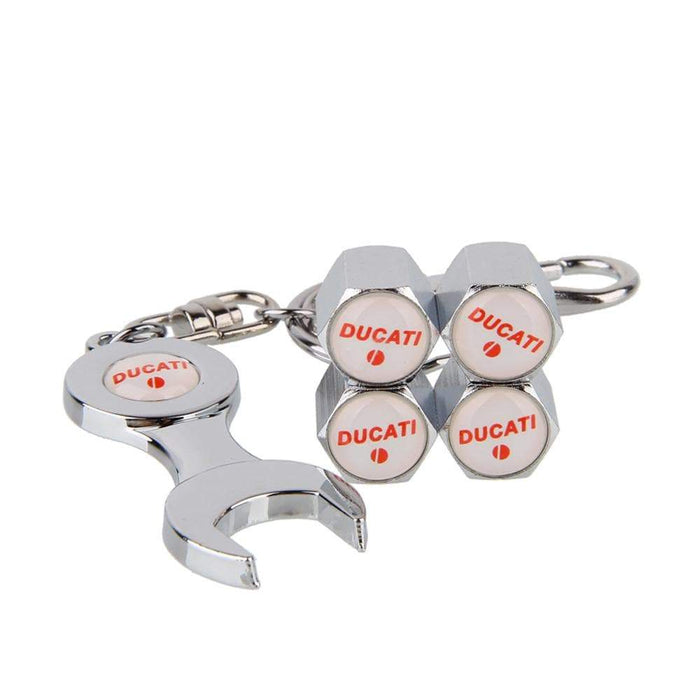 4pcs Ducati Silver Wheel Tire Valve Caps Covers+Keychain