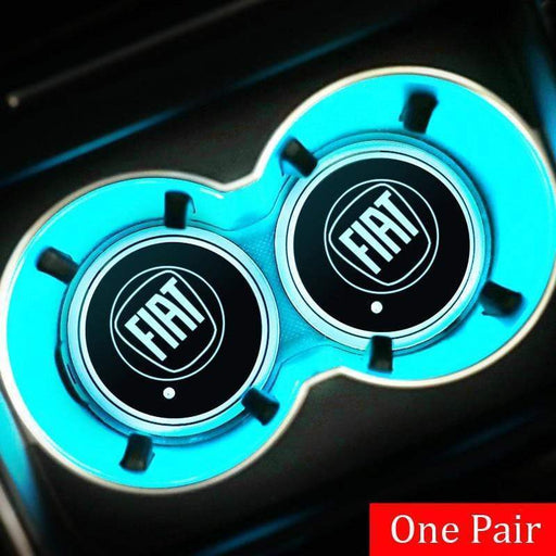 2pcs Fiat Logo Led Cup Holder Mat Pad