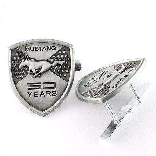 FORD Silver Ford Mustang 50 Years Grille Emblem Emblems for Grille