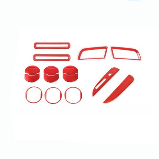 FORD 15pcs Car Gear Shift Dashboard Door AC Air Vent Ring Cover Stickers For Ford Cover Stickers Red