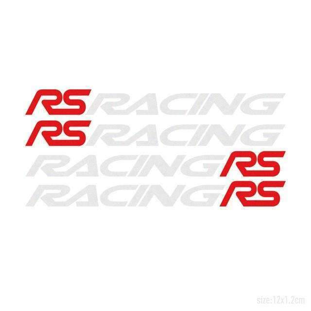 FORD 4pcs RS RACING Door Handle Stickers for Ford Decals Silver & Red