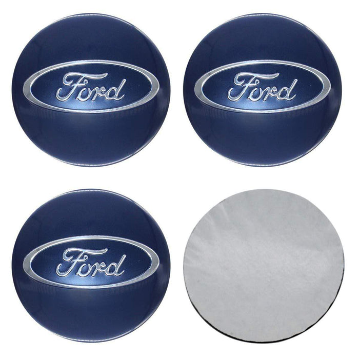 FORD 4pcs 65mm Ford Logo Wheel Center Cover for Ford - Blue Wheel Center Stickers