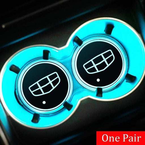2pcs Geely Logo Led Cup Holder Mat Pad