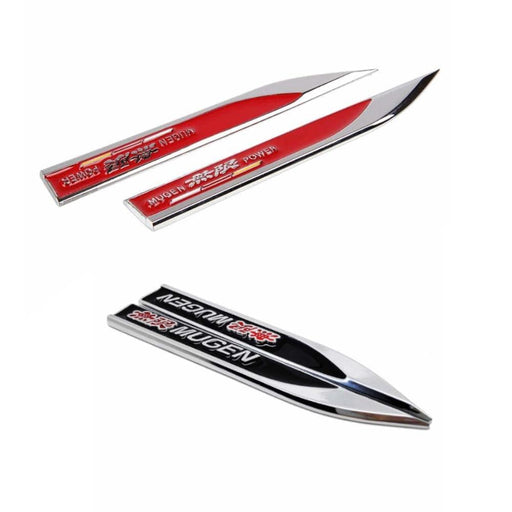 HONDA 2Pcs Honda Mugen Power Black Fender Emblem Sticker Emblem Stickers