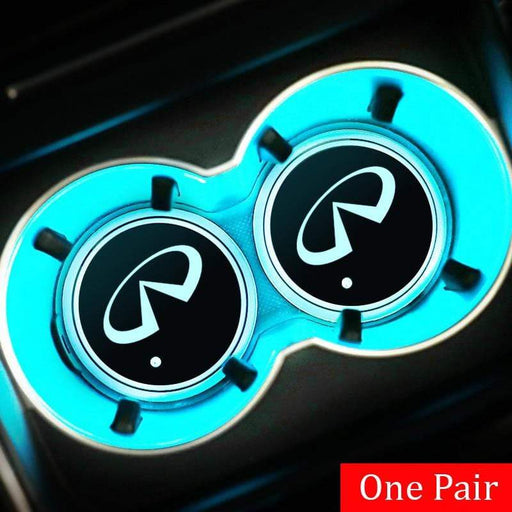 2pcs Infiniti Logo Led Cup Holder Mat Pad Only Logo