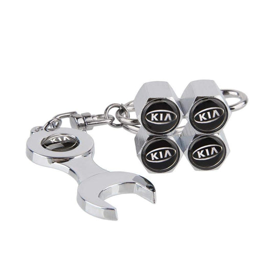 4pcs KIA Title Silver Wheel Tire Valve Caps+Keychain