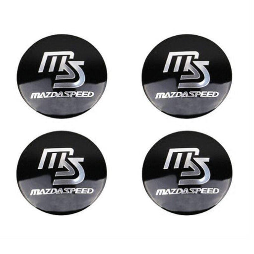 4pcs 56.5mm MS Mazdaspeed Wheel Center Stickers for Mazda - Black