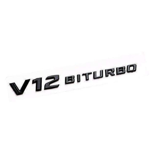 MERCEDES-BENZ V12 BITURBO Emblem Benz AMG [Black, ABS, Sticker] Emblems Stickers