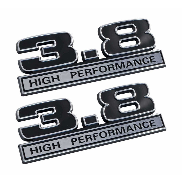Natalex Auto 2pcs 3.8 Liter High Performance Fender Emblems Emblem Stickers Black