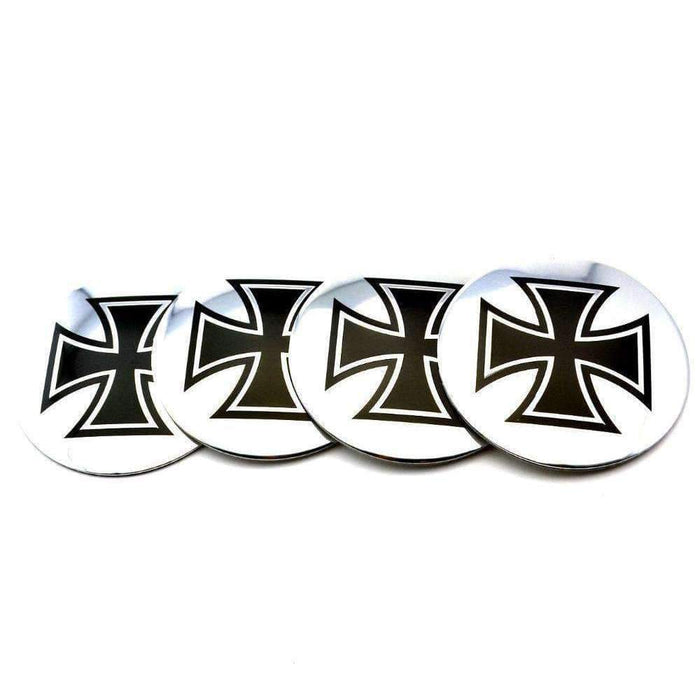 Natalex Auto 4 Pcs Cross-Shaped Aluminum Emblems Emblems Stickers