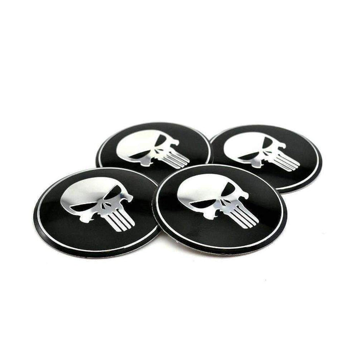4pcs Punisher Wheel Center Caps Stickers