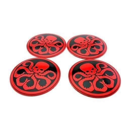 Natalex Auto 4 Pcs Skull Red Wheel Center Caps Stickers Emblems Stickers