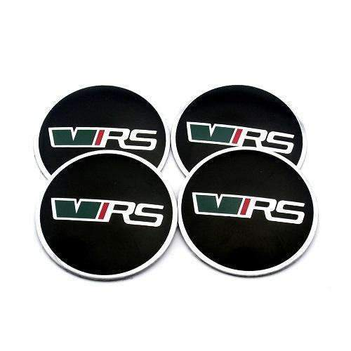Natalex Auto 4 Pcs VRS Black Wheel Center Caps Stickers Emblems Stickers