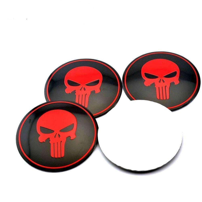 Natalex Auto 4PCS Red Punisher Skull Emblem Emblems Stickers