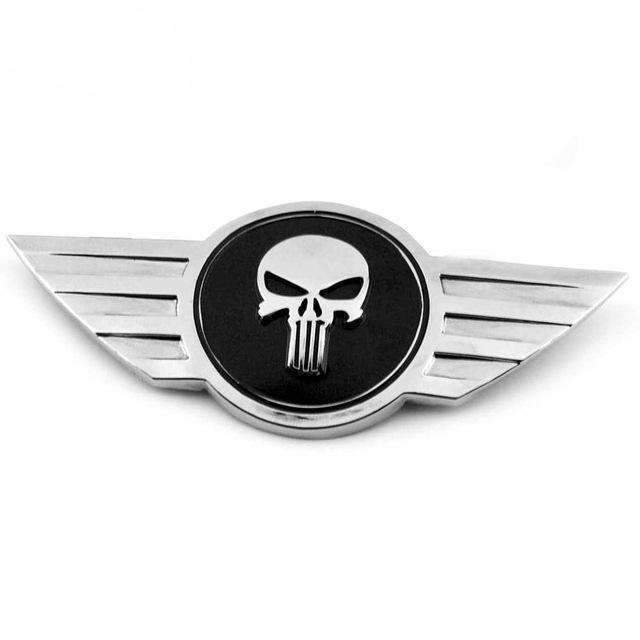 Natalex Auto Mini Cooper Black The Punisher Skull Emblem Emblems Stickers