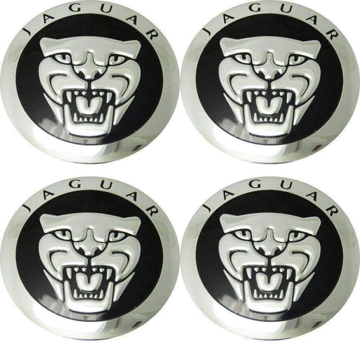 Natalex Auto Set 4 Pcs Black Wheel Center Hub Caps Decal 56mm JAGUAR Emblems Stickers