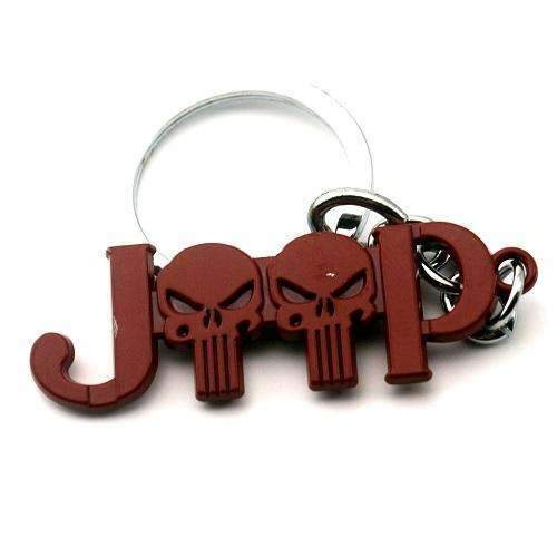 Punisher Skull Red Keychain Red