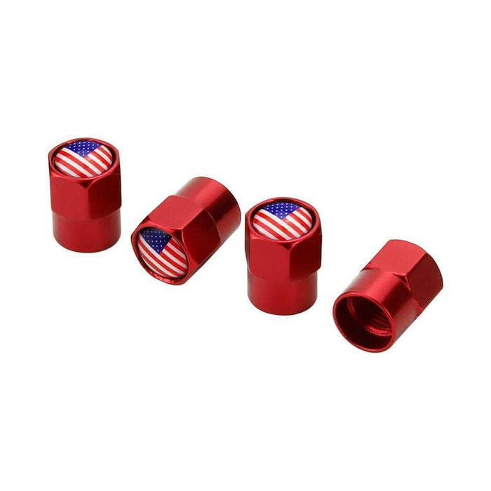 Natalex Auto 4pcs Tire Valve Caps with USA flag Tire Valve Caps Red