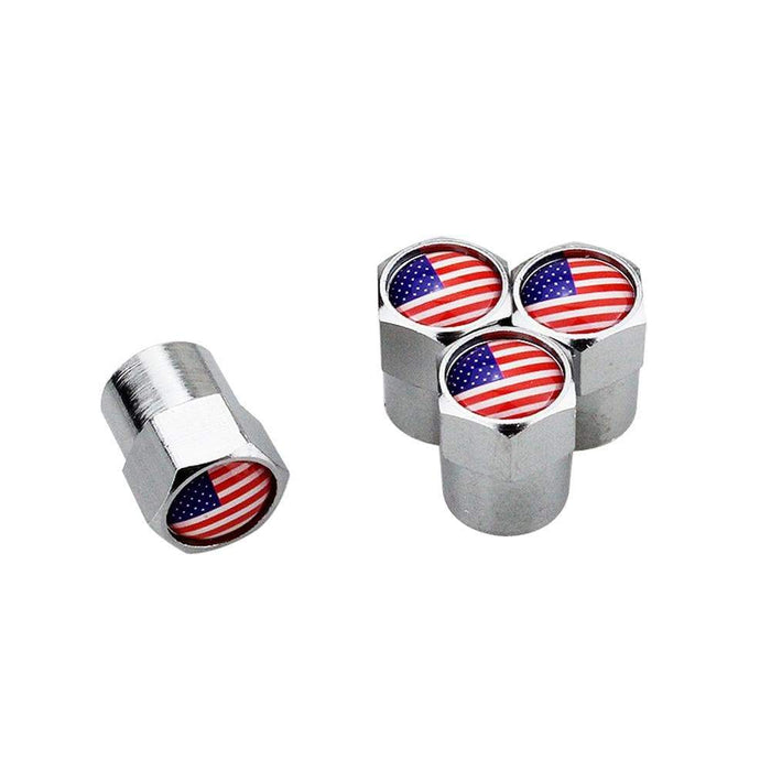 Natalex Auto 4pcs Tire Valve Caps with USA flag Tire Valve Caps Silver