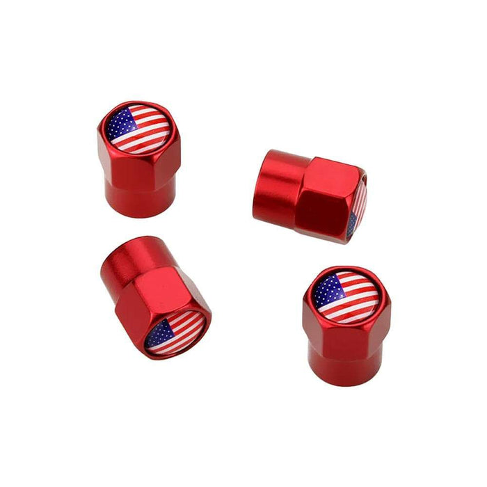 Natalex Auto 4pcs Tire Valve Caps with USA flag Tire Valve Caps