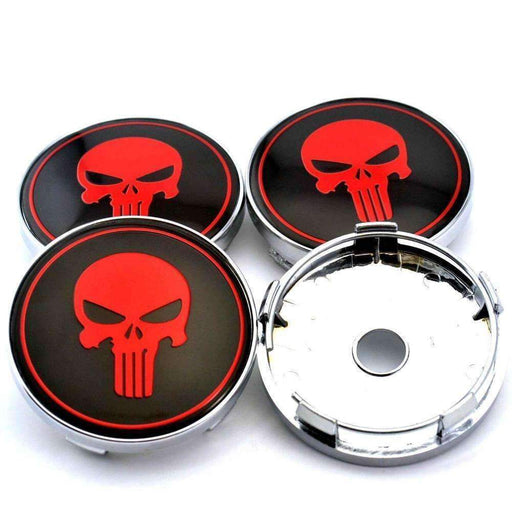 4pcs 60mm Punisher Skull Wheel Center Caps - Red