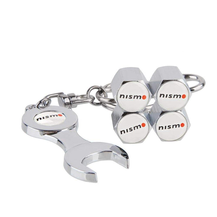 4pcs Nissan Nismo Type1 Silver Wheel Tire Valve Caps+Keychain