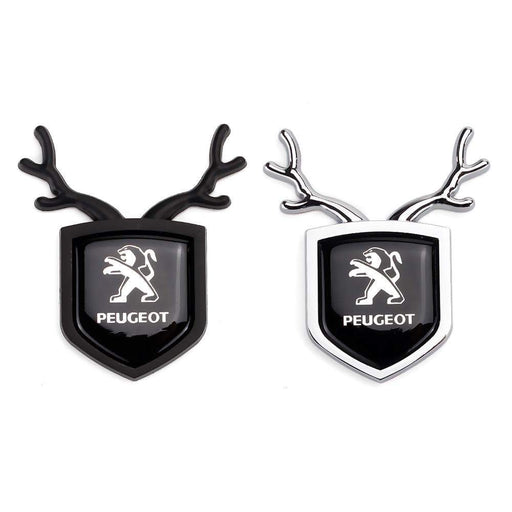 PEUGEOT 2pcs Peugeot Logo Shield Antler Emblems Emblems Stickers