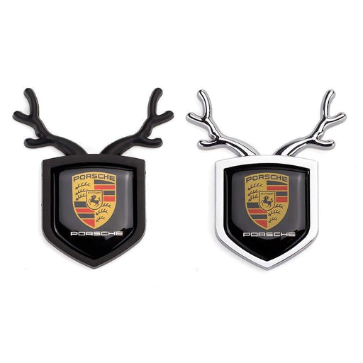 PORSCHE 2pcs Porsche Logo Shield Antler Emblems Emblems Stickers